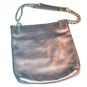 Pewter Pebbled Leather Tote or Crossbody